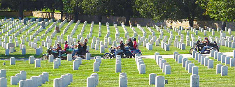 Riders at Fort Scott Cemetery for 5th Annual WAA Wreath Ride