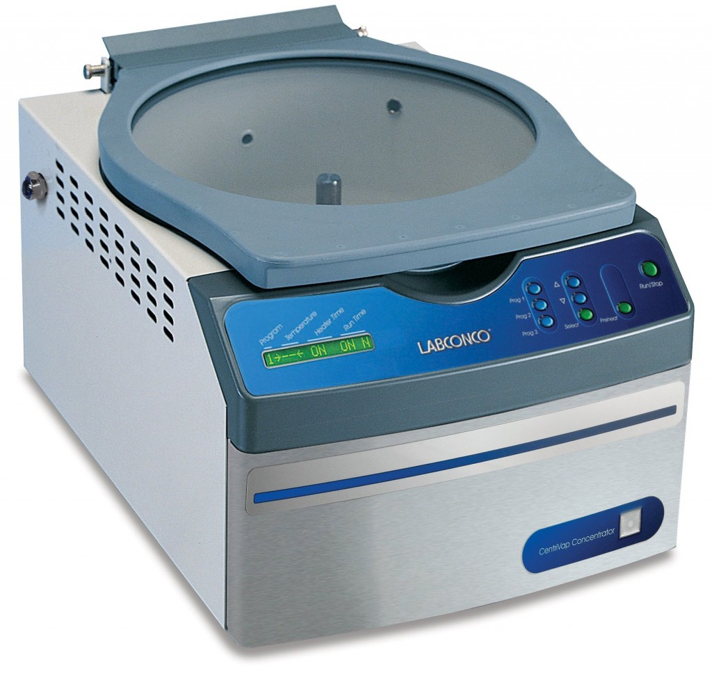 CentriVap Benchtop Centrifugal Vacuum Concentrator with glass lid
