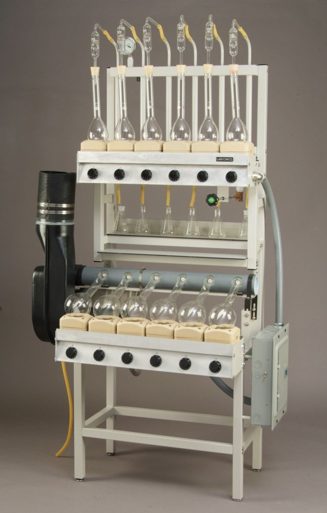 Twelve-Place Open Combination Kjeldahl Digestion/Distillation Apparatus with Water Ejector