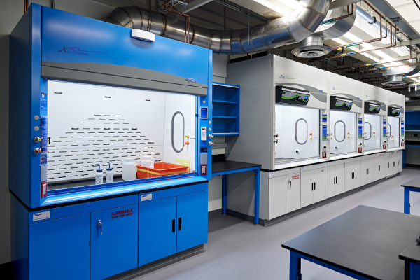 A ducted work space near four Echo Fume Hoods