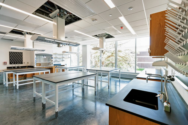 Lab interior with high performance fume hood at Carleton College