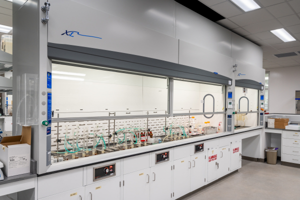 Eurofins Food Testing - 16' Wide Fume Hood with double horizontal rising sashes.