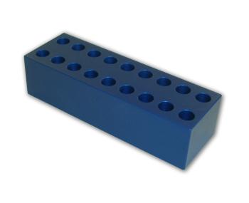 1.5 ml microcentrifuge, 10.5 mm Aluminum Tube Rack (18 tubes)