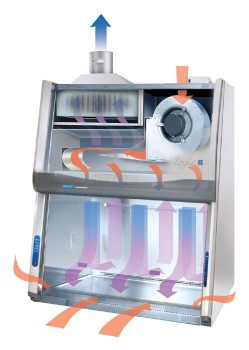 4' Purifier Cell Logic+, Class II B2 with Temp-Zone, Service Fixture, UV Light, Vacu-Pass Portal and Base Stand