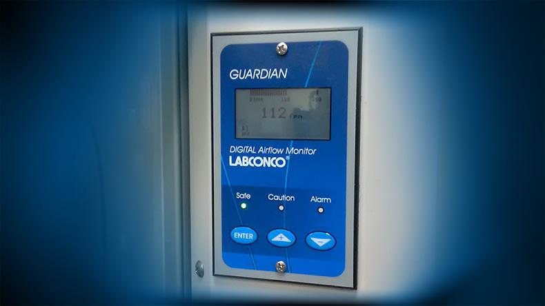 Digital Airflow Monitor on Fume Hood