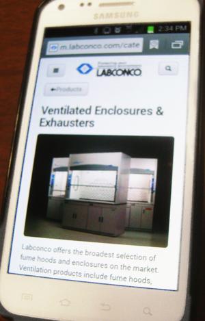m.labconco.com 300 on Samsung screen