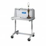 Protector Downdraft Powder Station shown on Variable Height Bench