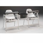 Double Blood Drawing Chair with Center Storage Cabinet