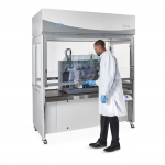 Logic Vue Class II Enclosure with scientist working while standing