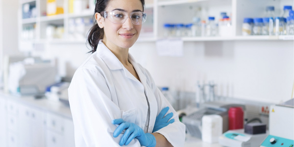 Confident scientist in laboratory